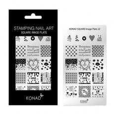 Мини пластина для стемпинга Konad Square Image Plate 22